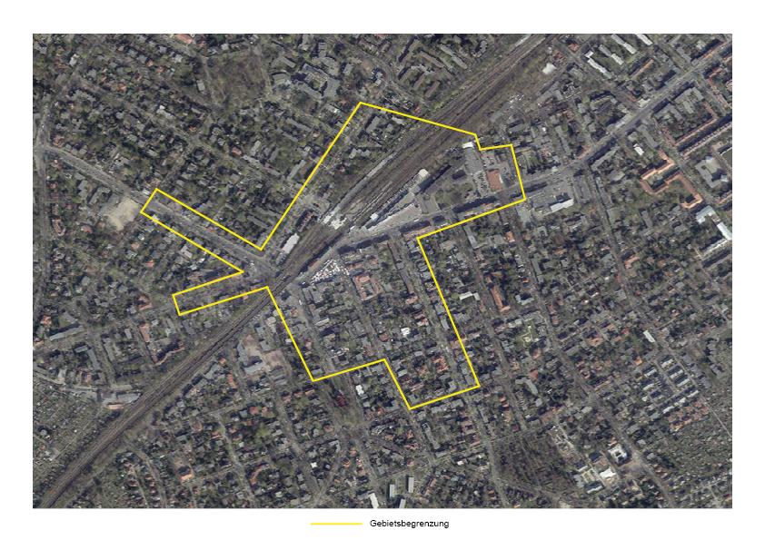 Die Gebietsabgrenzung des Standortmanagement Kranoldkiezes in Lichterfelde Ost. © die raumplaner 2021
