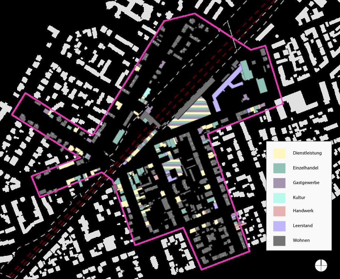 Die gewerbeliche Struktur des Kranoldkiezes. © Grundlage: Bezirksamt Steglitz-Zehlendorf, bearbeitet durch die raumplaner.